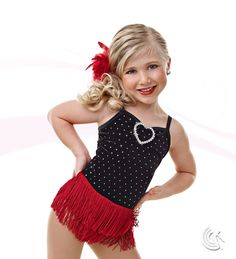 Curtain Call Costumes® - Sweetheart Black foil dot stretch velvet and nylon/spandex leotard with heart buckle trim and attached double row fringe skirt. INCLUDES: boa barrette. Troupe price: $65 AUD - $70 AUD