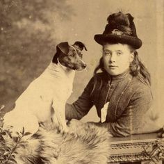 1880s YOUNG GIRL JACK RUSSELL DOG CABINET CARD PHOTO VICTORIAN ANTIQUE TERRIER  @KaufmannsPuppy