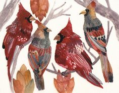 Bright Cardinals  Archival Print by Michelle Morin unitedthread on Etsy, $20.00