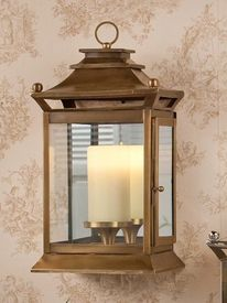 GU739 - Antique Brass Mirror Wall Lantern Hurricane - Candle Holder
