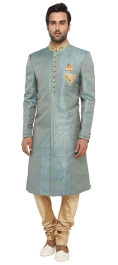 504727 Green color family Sherwani in Blended Cotton fabric with Machine Embroidery, Thread work . Mens Sherwani, Wedding Sherwani, Groom Wedding Dress, Wedding Suits, Wedding Wear, Groom Outfit, Groom Attire, Indian Men Fashion, Mens Fashion
