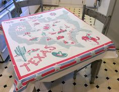 Vintage 1940's Souvenir Tablecloth Texas Lone by unclebunkstrunk