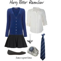 """""""Harry Potter - Ravenclaw Inspired Outfit"""" by fandom-inspired-fashion on Polyvore. Classic school uniform outfit with blouse, skirt and flats. Sweater and tie in Ravenclaw blue. Raven necklace and blue stone school ring accessories."""