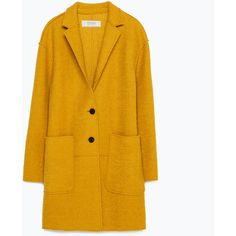Zara Wool Coat (2,150 MXN) ❤ liked on Polyvore featuring outerwear, coats, jackets, mustard, woolen coat, yellow coat, wool coat, zara coat and mustard coat