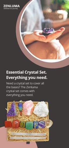 Includes 7 Tumbled Chakra Stones 2 Selenite Sticks 1 Gemstone Crystal Pendulum 3 Raw Crystals – Amethyst Cluster, Rose Quartz Rough and a White Crystal Geode.