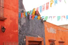 """Mexican Street decorated with festive """"Papel picado"""""""