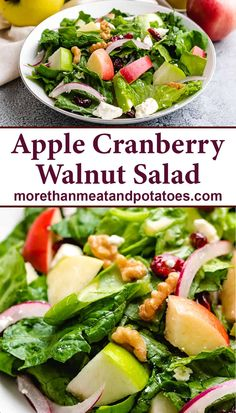 A crunchy, tangy apple cranberry walnut salad made with fresh ingredients and topped with a homemade apple cider vinaigrette! #morethanmeatandpotatoes Best Salad Recipes, Apple Recipes, Healthy Recipes, Easy Recipes, Cranberry Walnut Salad, Cranberry Cheese, Easy Salads, Easy Healthy Dinners, Weeknight Dinners
