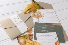 fall theme autumn inspired halloween orange leaves invitations wedding