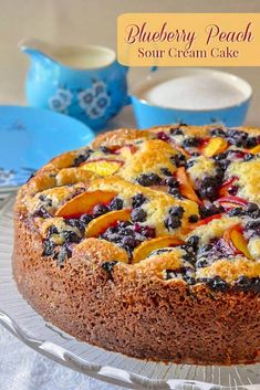 Blueberry Peach Sour Cream Cake - a marriage of great seasonal flavors! A summer into fall recipe taking advantage of seasonal fruits when they are both available. Perfect for a late summer brunch or as a great close to a BBQ dinner. Blueberry Recipes, Fruit Recipes, Baking Recipes, Cake Recipes, Dessert Recipes, Peach Blueberry Cake Recipe, Peach Coffee Cakes, Sour Cream Coffee Cake, Peach Cake