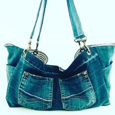Distressed recycled denim tote bag with indigo blue and white striped lining. Denim handles with antique brass hardware. Denim Tote Bags, Recycled Denim, Indigo Blue, My Etsy Shop, Blue And White, Shopping, Fashion, Moda, La Mode