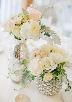 White rose centerpieces   Florist: http://www.spikegreens.com/desk/   photo by http://emilydelamaterphotography.com/   http://www.100layercake.com/blog/2013/07/16/romantic-pennsylvania-wedding-portia-desmond/