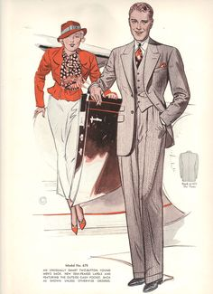 Fall 1934 to Winter 1935 Style Book of Windsor Clothing company; 1930s Fashion, Vintage Fashion, Mens Fashion, Windsor Clothing, Vintage Costumes, Vintage Outfits, Fashion Illustration Vintage, Fashion Illustrations, Classic Suit