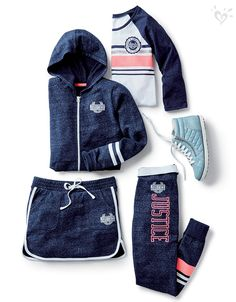 >>>Pandora Jewelry OFF! >>>Visit>> Made-to-match activewear in our favorite hues: pink and blue! Cute Girl Outfits, Sporty Outfits, Athletic Outfits, Dance Outfits, Kids Outfits, Tween Fashion, Little Girl Fashion, Look Fashion, Fashion Outfits