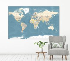 Ocean theme preschool classroom wall decor inspiration animal map extra large world map wall art with countries names canvas print detailed world map home decor world map canvas print ready to hang gumiabroncs Images