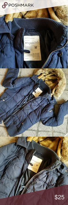 Aeropostale winter coat Navy blue winter coat only worn a couple times. Warm and comfy. Like new condition Aeropostale Jackets & Coats