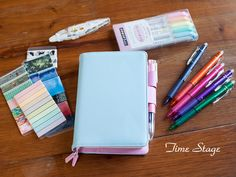 time stage design A6 a5 notebook stationery diary billbook hobonichi style hobo notebook pink with blue