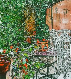 """secluded backyard paris (3) - 20"""" x 18""""   micheal zarowsky / watercolour on arches paper / available $900.00"""