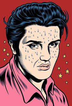 Charles Burns draws Elvis. Groovy.