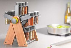 The spices on this rack go 'round and 'round, 'round and 'round...