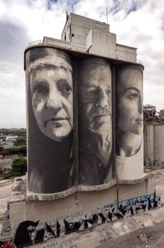silo portraits by Rone,Geelong, Victoria Graffiti Artwork, Art Mural, Street Art Graffiti, Urban Street Art, Urban Art, Art Du Monde, Melbourne Street, Water Tower, Australian Artists