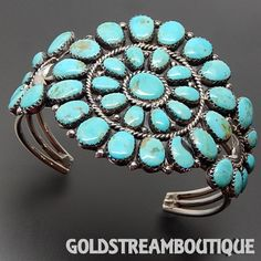 Native American Old Pawn JWMS Navajo Sterling Silver Turquoise Cluster Sun Wheel…