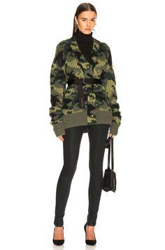 Proenza Schouler PSWL Camo Jacquard Cardigan in Military Multicolor | FWRD