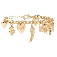 Forever21 Heart Charm Bracelet ($5.90) ❤ liked on Polyvore featuring jewelry, bracelets, heart jewellery, charm bracelet, star charm bracelet, lobster claw clasp charms and four leaf clover charm