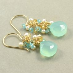 Aqua Chalcedony Cluster Earrings. Citrine Pearl Apatite Earrings. $61.00, via Etsy.