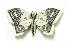 butterfly made from dollar bill origami by won park