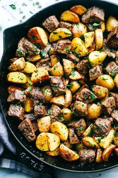 These garlic herb and butter steak bites are a weeknight meal for when your day doesn't go as well as you hoped. They feature Sliced Yukon Gold potatoes which are sautéed in olive oil and butter with garlic and then seared, buttery steak. The ultimate dinner treat.