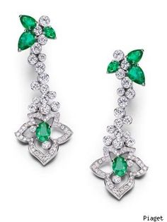 Piaget 18-carat white gold, diamond and emerald earrings