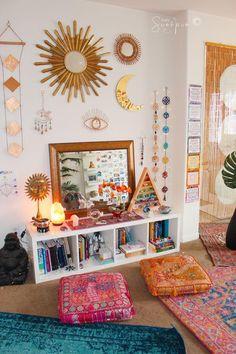 Boho Bedroom Decor, Boho Room, Boho Living Room, Bohemian Decor, Bedroom Bed, Bohemian Dorm Rooms, Modern Bedroom, Bohemian Style, Bedroom Rustic