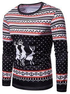 0bbc4ee9f045 Elk Christmas 3D Print Color Block Long Sleeves T Shirt
