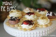 Mini Pie Bites: Prepared pie crust, cut in desired shapes and baked. Top with your choice of creamy filling and fruit.