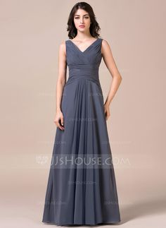 A-Line/Princess V-neck Floor-Length Ruffle Zipper Up Regular Straps Sleeveless No Other Colors Spring Summer Fall General Plus Chiffon Bridesmaid Dress Mob Dresses, Modest Dresses, Fashion Dresses, Chiffon, Beautiful Bridesmaid Dresses, Wedding Party Dresses, Special Occasion Dresses, Dress Patterns, Marie