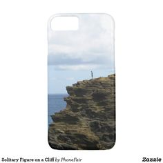 Solitary Figure on a Cliff iPhone 7/8 Case - personalize with your own name #hawaii #blueocean