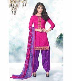 Stylish Pink Cotton Dress Material