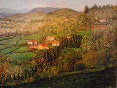 Paisaxe dende a miña casa no Castro de Gundivós. Acrílico sobre táboa pintado por Berto. Museo: no corredor da miña casa (de momento)
