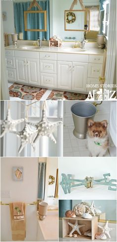 Bathroom makeover on a strict budget without paint, powertools, or putting nails in the wall. Great tips for renter's.