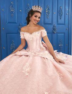 Mikado Peplum Ball Gown House of Wu La Glitter 24048 - Victoria's Elegance Quinceañera & Bridal Quince Dresses, 15 Dresses, Ball Dresses, Pretty Quinceanera Dresses, Pink Wedding Dresses, Quinceanera Party, Vestido Charro, Mori Lee Dresses, Princess Ball Gowns