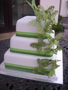 Green Butterfly Wedding Cake by More Cake, via Flickr