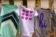 15 modern, cool, DIY Freezer paper stencil onesie designs you can do by hand. chevron stripes, ombre hearts, and HI! Put Up Your Dukes: Fifteensies > Onesies Freezer Paper Stenciling, Fabric Embellishment, Kool Kids, Baby Mine, Baby Wedding, Sewing Appliques, Clothes Crafts, Cricut Creations, Toddler Gifts