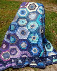 Twin Quilt in Hexagons of Purple Blue and Teal by uniquelynancy