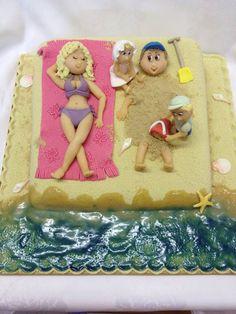Karen Davies Sugarcraft. Cake Icing, Fondant Cakes, Cupcake Cakes, Pool Cake, Bbq Cake, Beach Themed Cakes, Nautical Cake, Sea Cakes, Funny Cake