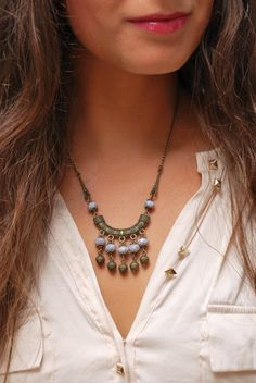 Ethnic Tube Necklace, Tribal Beaded Necklace, Decorative Brass Necklace.