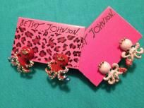 Betsey Johnson 2 pairs of Octopus Earrings one red King pair and one pink Queen pair