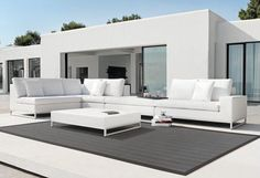 Know it's patio furniture, but I wouldn't mind it in my living room Wicker Patio Furniture, Outdoor Furniture Sets, Garden Furniture, Furniture Ideas, White Furniture, Patio Chairs, Furniture Design, Outdoor Sofa, Outdoor Living