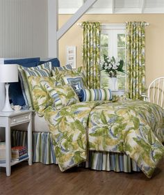 Thomasville Cayman Queen Bedspread by Thomasville Bedding. Beach Bedding Sets, Blue Comforter Sets, Blue Bedspread, Twin Comforter, King Duvet, Queen Duvet, Tropical Bedding, Clean Bedroom, Quilts