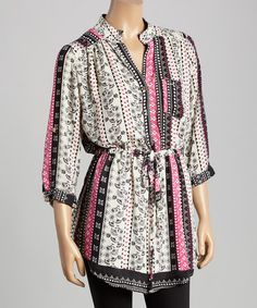 Loving this Black & Pink Sophia Tunic on #zulily! #zulilyfinds