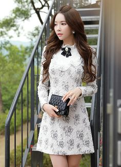 Morpheus Boutique  - White Floral Pattern Long Sleeve Ruffle Designer Dress, CA$171.86 (http://www.morpheusboutique.com/new-arrivals/white-floral-pattern-long-sleeve-ruffle-designer-dress/)